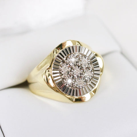 Gold & Diamond Mens Cluster Ring #5
