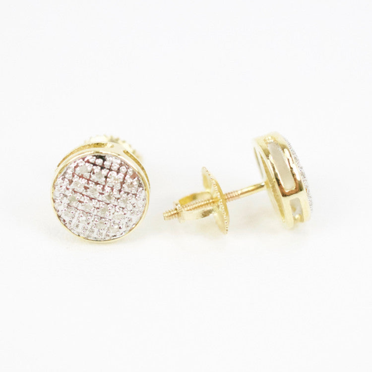 Gold & Diamond Small Domed Circle Earrings