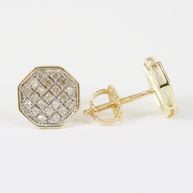 Gold & Diamond Small Flat Octagon Earrings