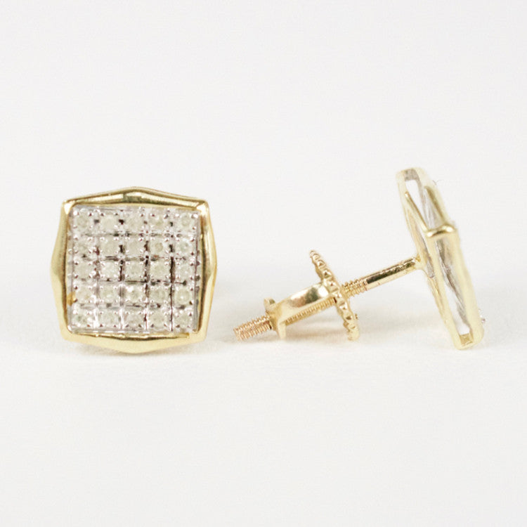 Gold & Diamond Small Cupped Cushion Earrings