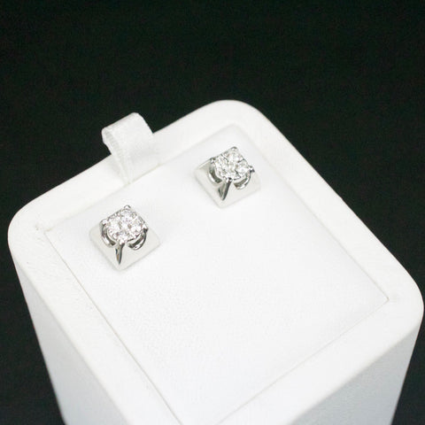 Gold & Diamond Medium Square Cluster Earrings