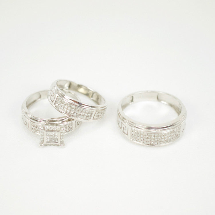 Gold & Diamond Trio Wedding Set #15