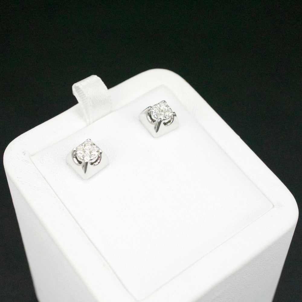 Gold & Diamond Small Square Cluster Earrings