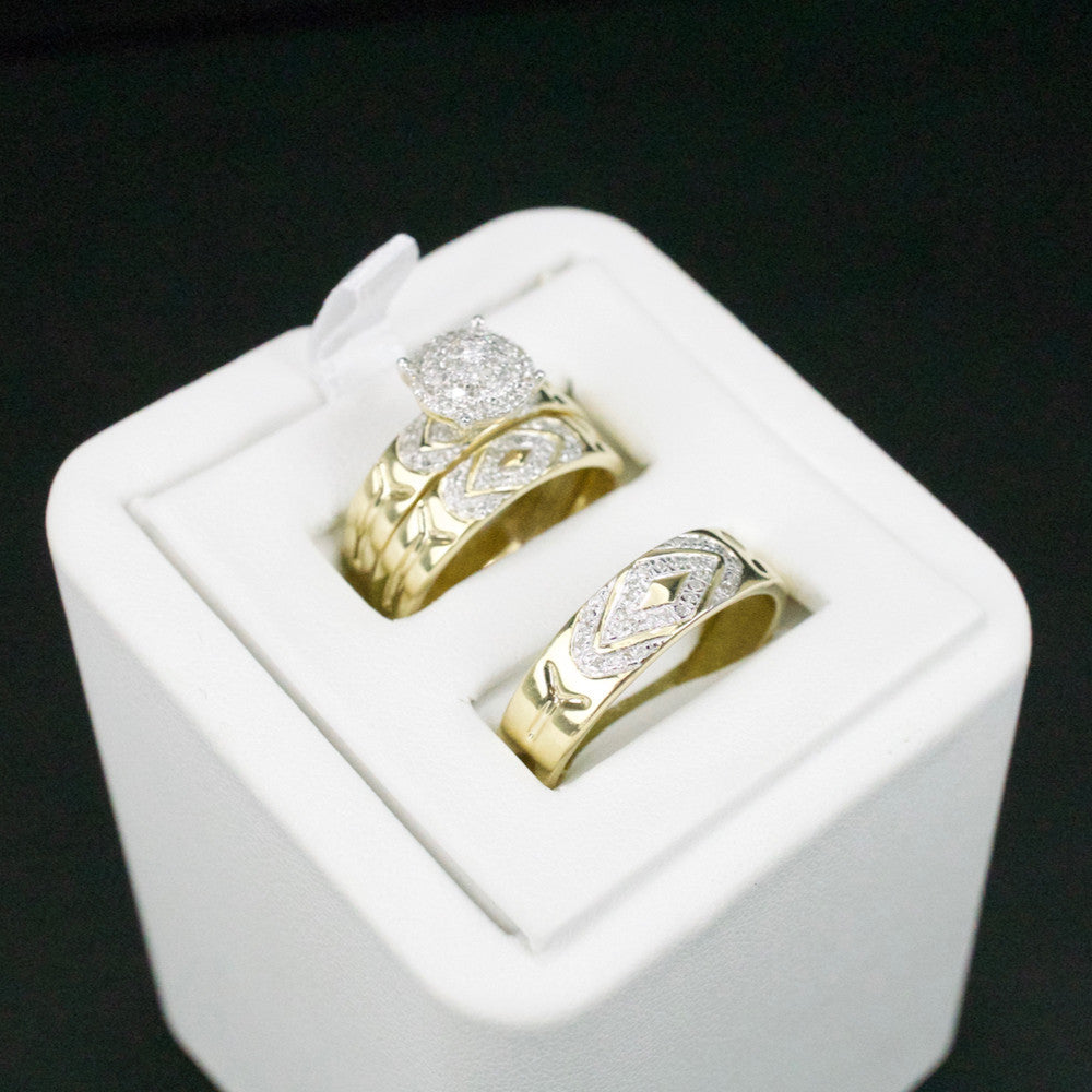 Gold & Diamond Trio Wedding Set #50