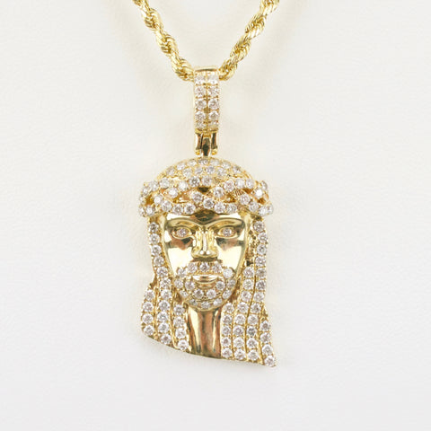 Gold & Diamond Medium Jesus Charm #17