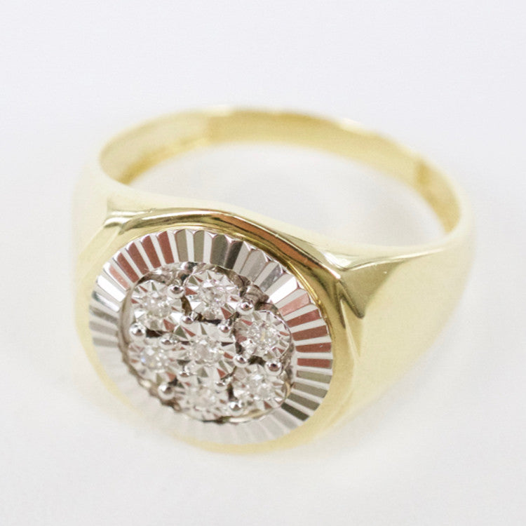 Gold & Diamond Mens Cluster Ring #6