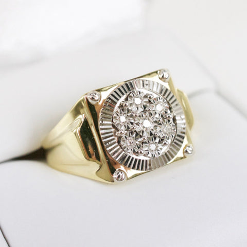 Gold & Diamond Mens Cluster Ring #7