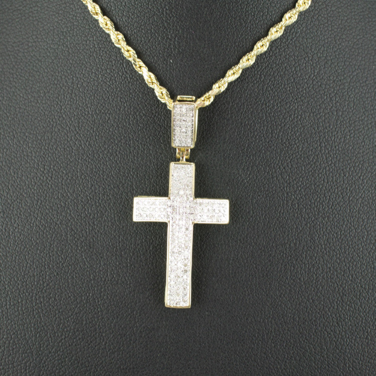 Gold & Diamond Small Cross Charm #18