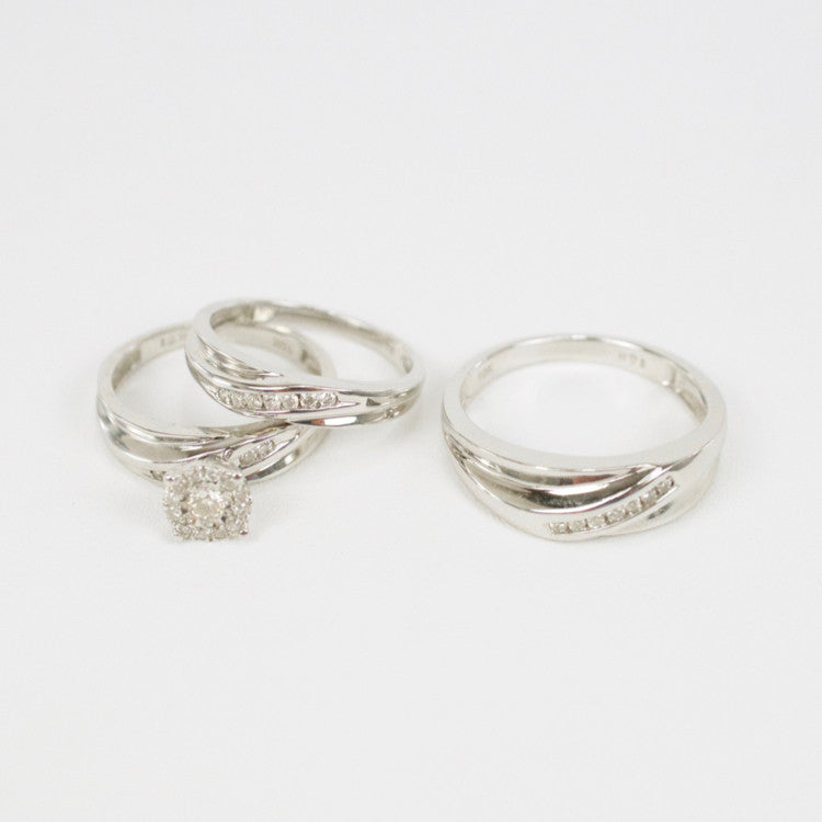 Gold & Diamond Trio Wedding Set #18