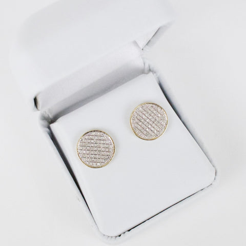 Gold & Diamond Medium-Large Flat Circle Earrings Alt
