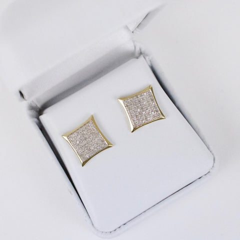 Gold & Diamond Medium-Large Flat Kite Earrings