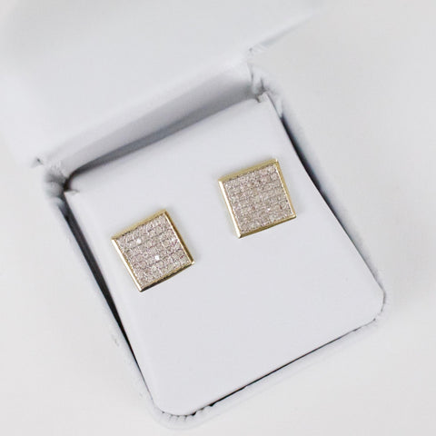 Gold & Diamond Medium-Large Flat Square Earrings Alt