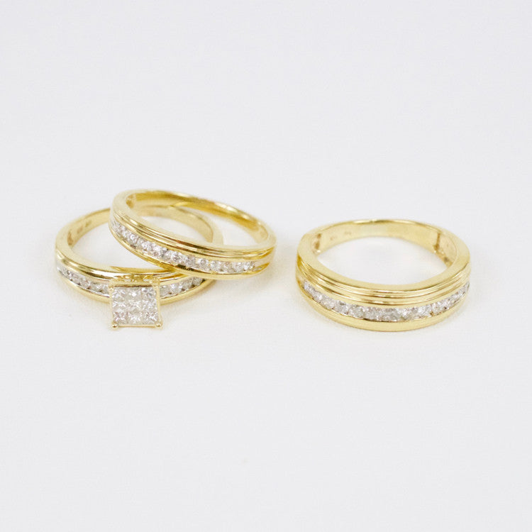 Gold & Diamond Trio Wedding Set #23
