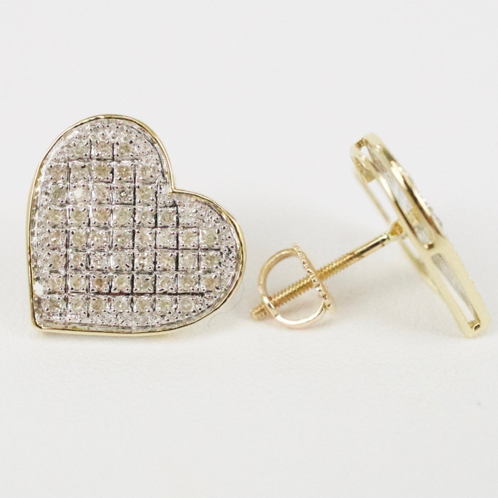 Gold & Diamond Medium-Large Flat Heart Earrings