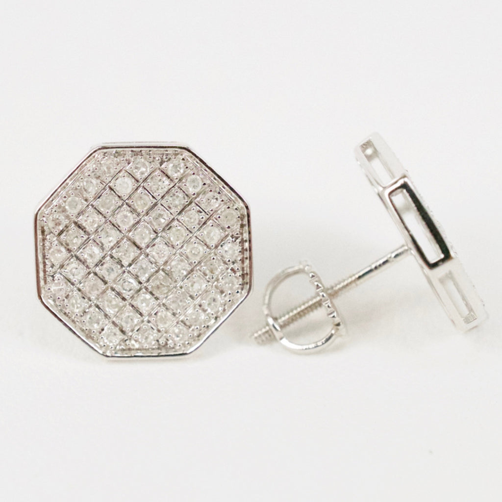 Gold & Diamond Medium-Large Flat Octagon Earrings