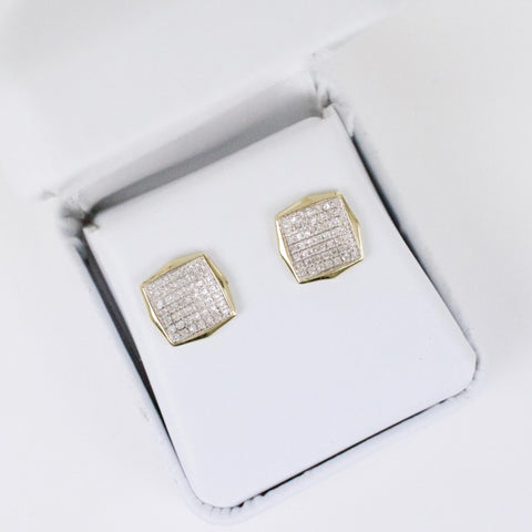 Gold & Diamond Medium-Large Cupped Cushion Earrings