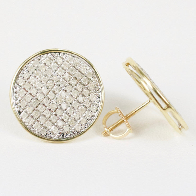 Gold & Diamond Large Flat Circle Earrings