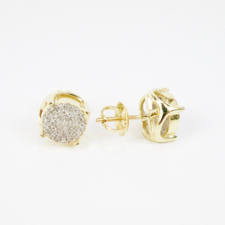 Gold & Diamond Medium 3D Circle Earrings