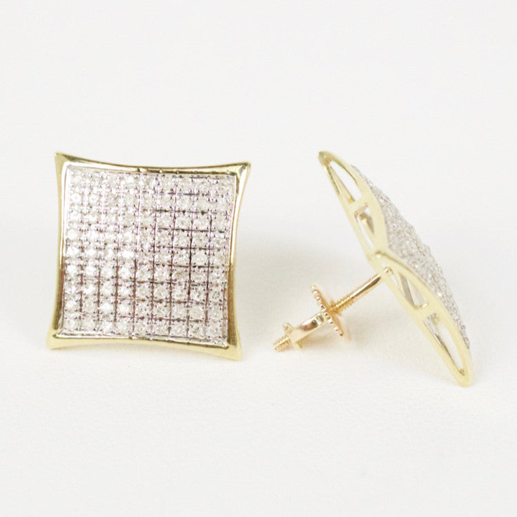 Gold & Diamond Large Domed Kite Earrings