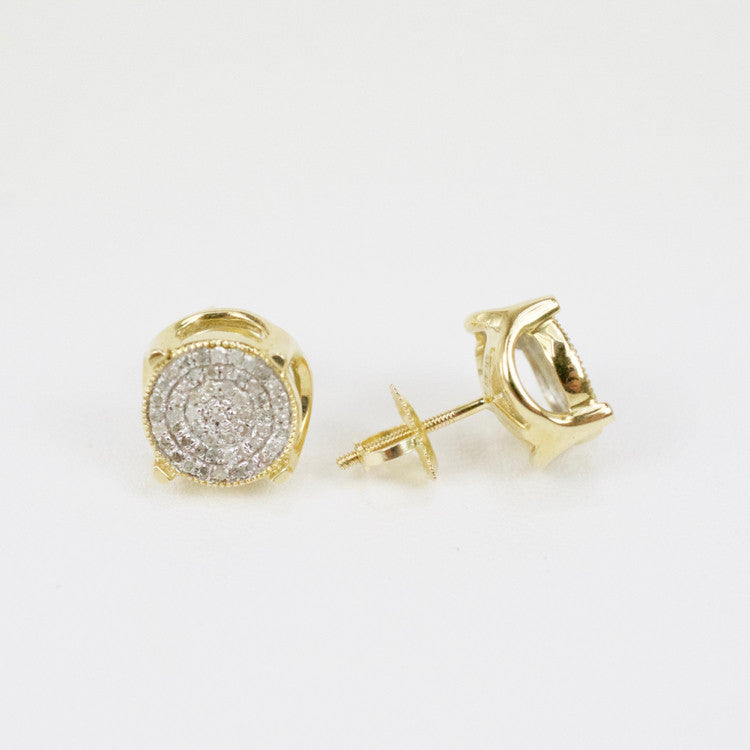 Gold & Diamond Medium-Large 3D Circle Earrings