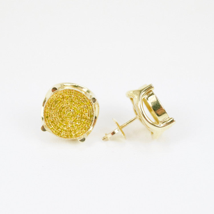 Gold & Diamond Large 3D Circle Earrings