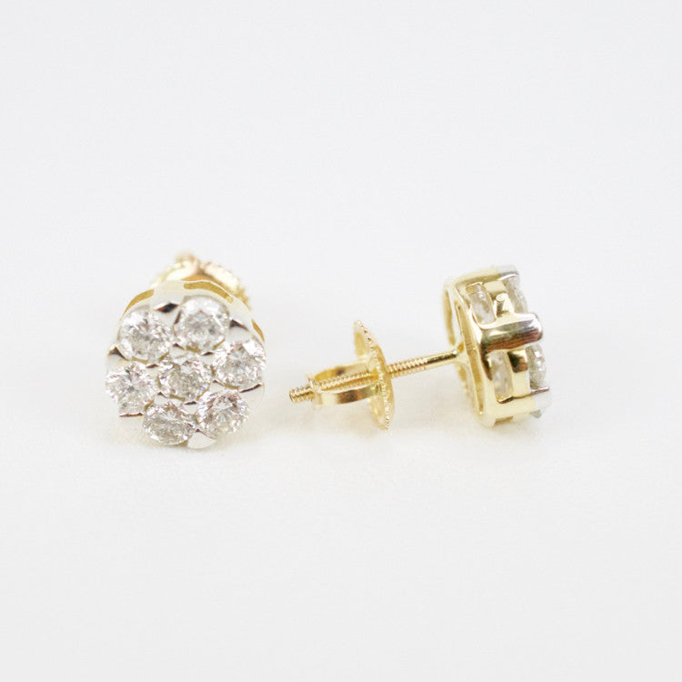 Gold & Diamond Medium 7-Stone Cluster Earrings