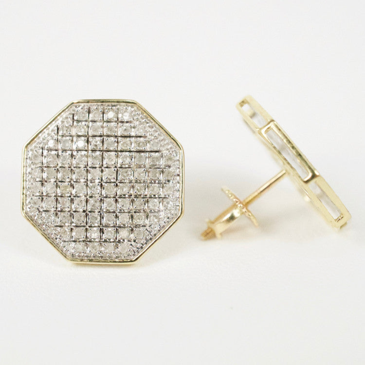 Gold & Diamond Large Flat Octagon Earrings