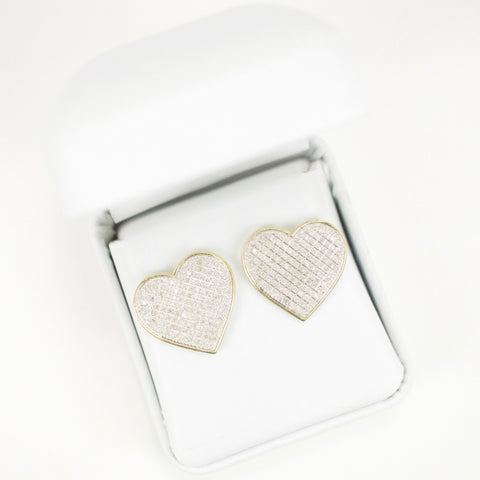 Gold & Diamond Extra-Large Flat Heart Earrings