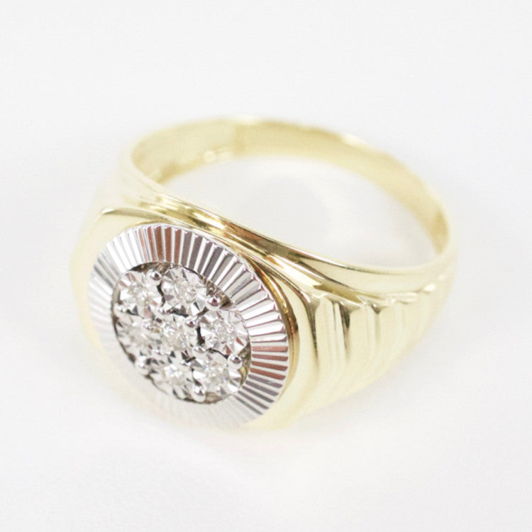 Gold & Diamond Mens Cluster Ring #8