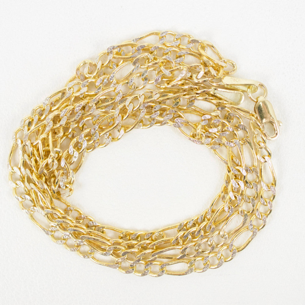 Gold 2.5mm Diamond-Cut Figaro Chain