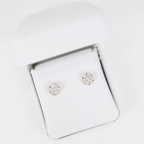 Gold & Diamond Small 7-Stone Cluster Earrings