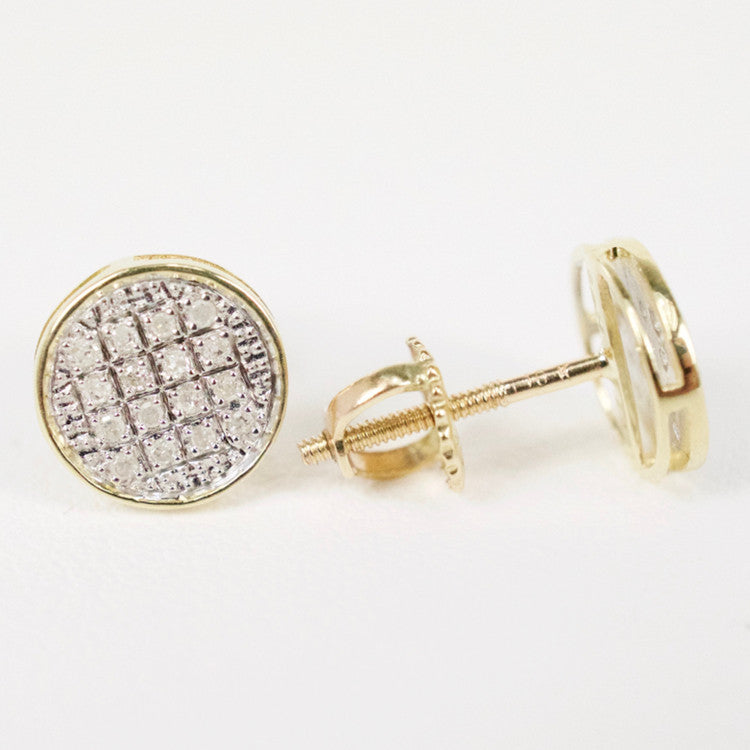 Gold & Diamond Baby Flat Circle Earrings Alt (Larger)