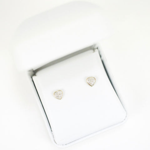 Gold & Diamond Baby Domed Heart Earrings Alt