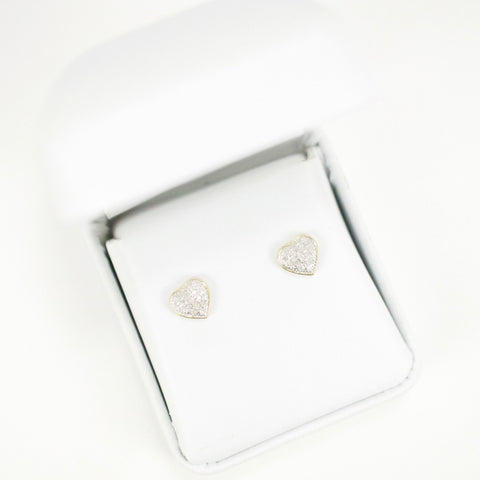 Gold & Diamond Baby Domed Heart Earrings (Larger)