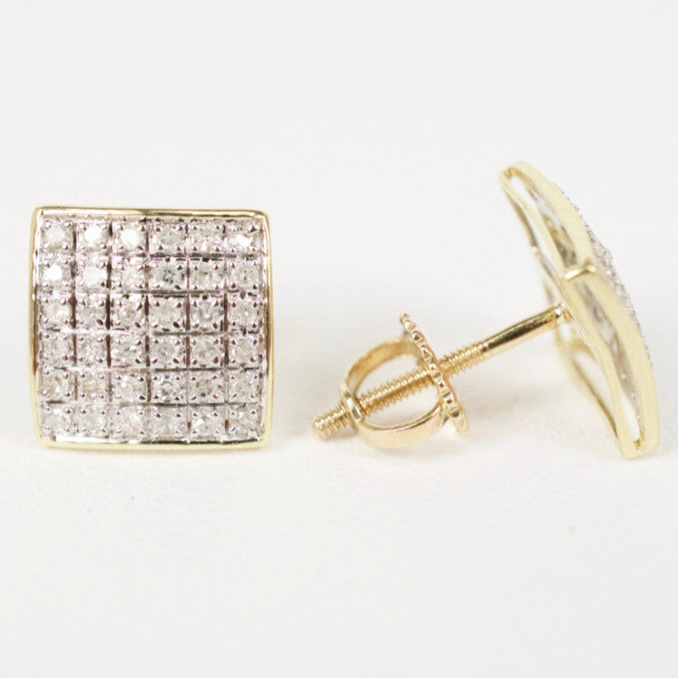 Gold & Diamond Medium Domed Square Earrings Alt