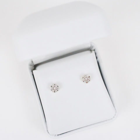 Gold & Diamond Baby 7-Stone Cluster Earrings
