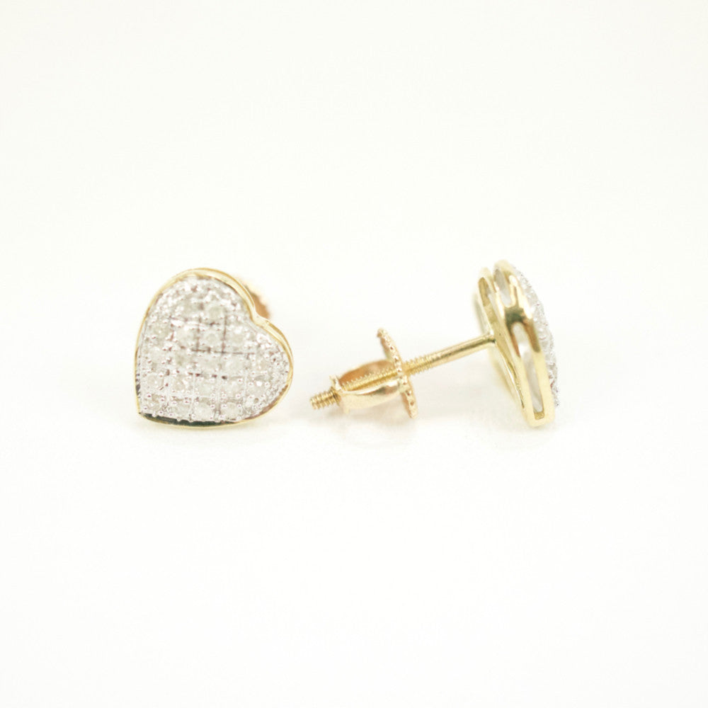 Gold & Diamond Small Domed Heart Earrings Alt