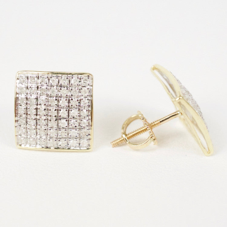 Gold & Diamond Medium-Large Domed Square Earrings Alt