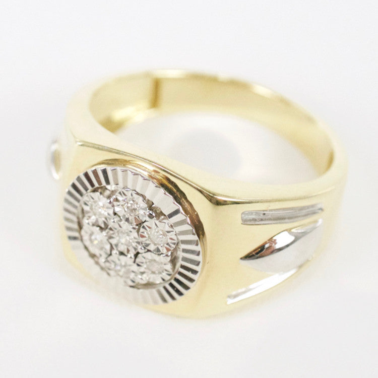 Gold & Diamond Mens Cluster Ring #9