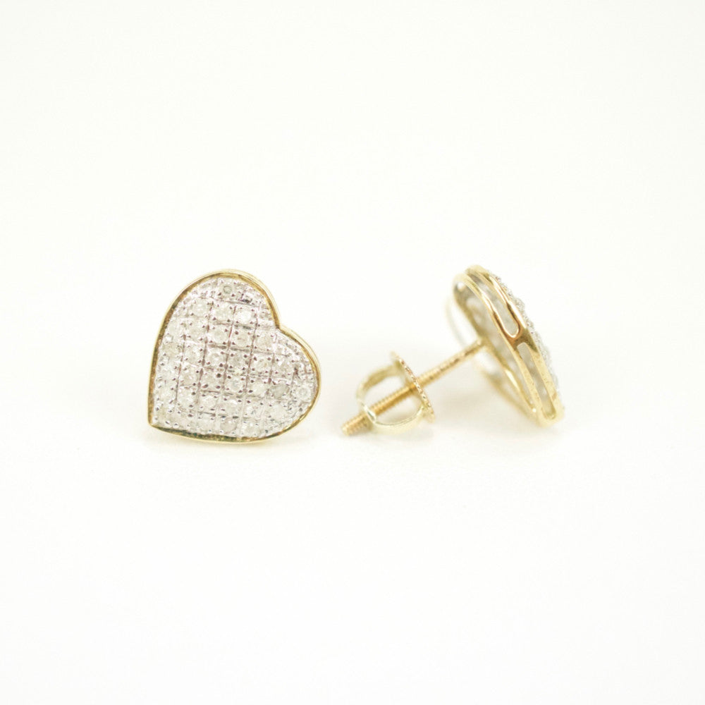Gold & Diamond Medium Domed Heart Earrings Alt