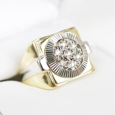 Gold & Diamond Mens Cluster Ring #10