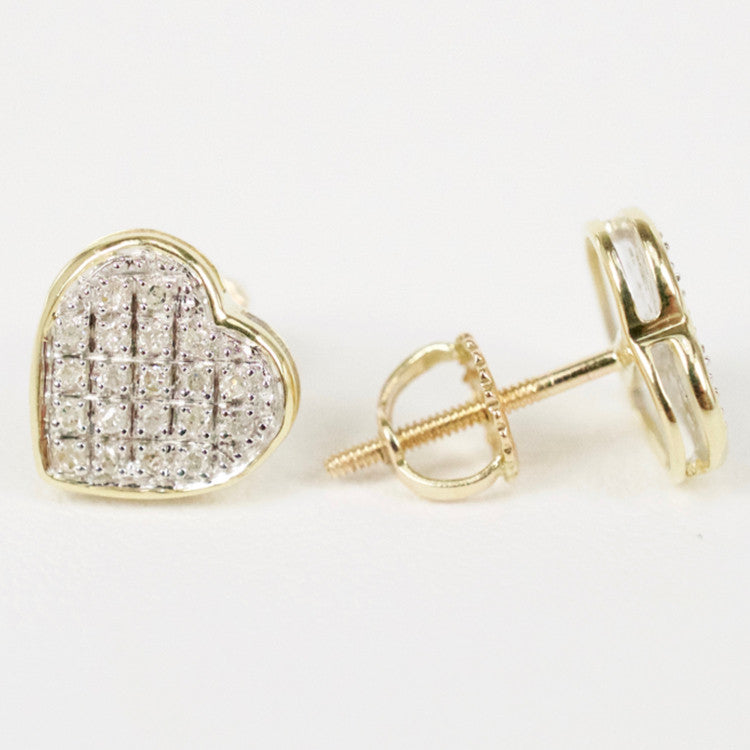 Gold & Diamond Small Flat Heart Earrings