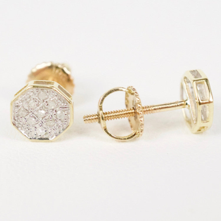 Gold & Diamond Baby Flat Octagon Earrings