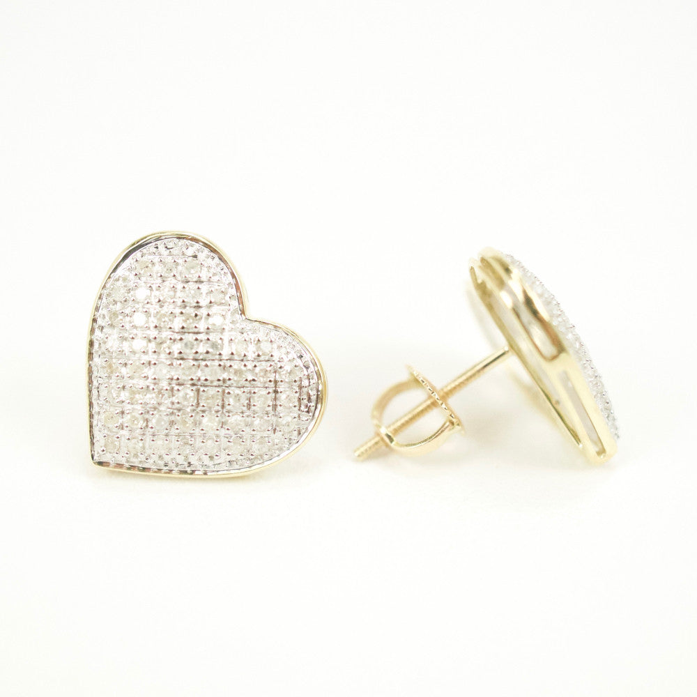 Gold & Diamond Medium-Large Domed Heart Earrings Alt