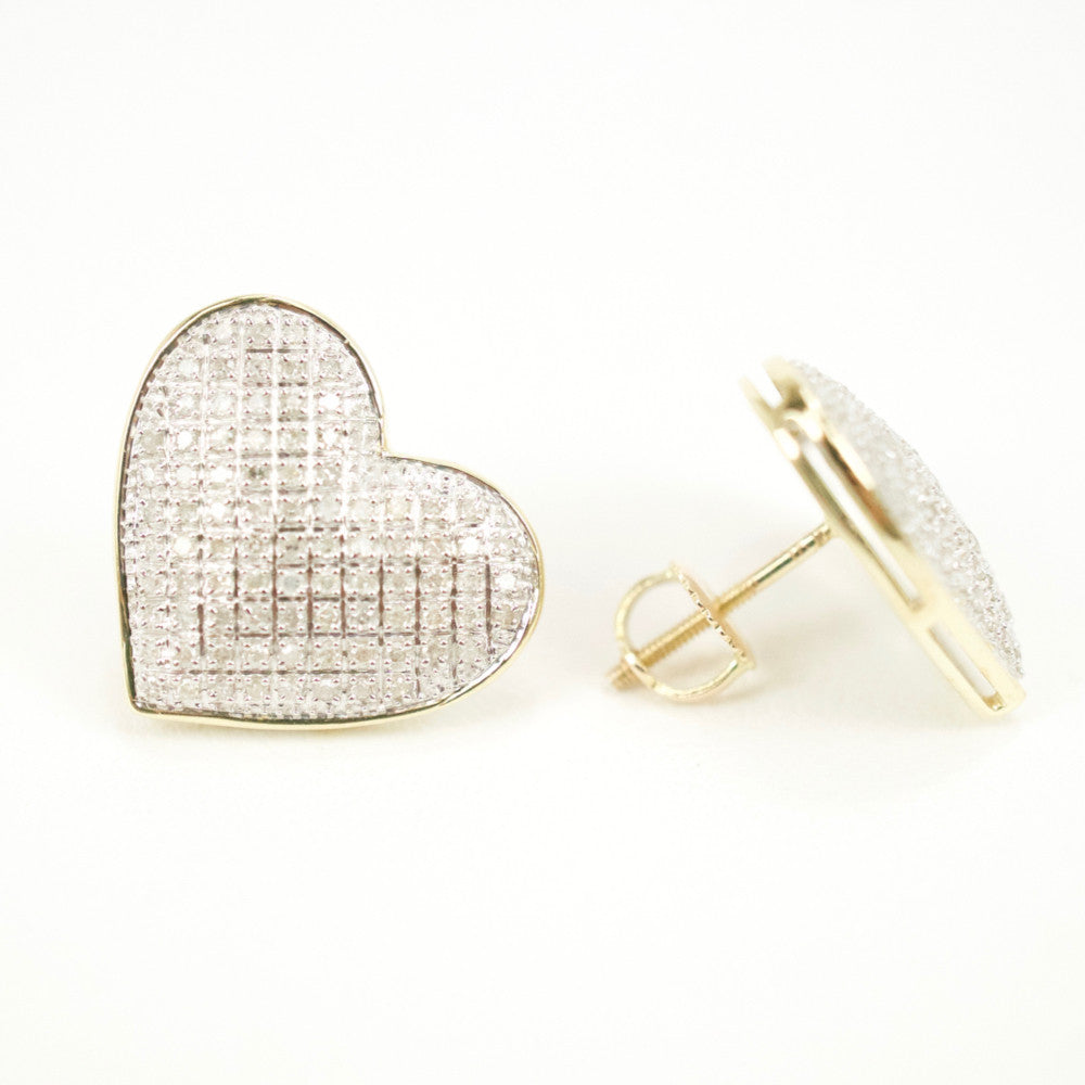 Gold & Diamond Large Domed Heart Earrings