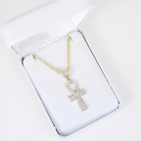 Gold & Diamond Small Cross Charm #1