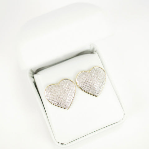 Gold & Diamond Extra-Large Domed Heart Earrings