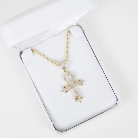 Gold & Diamond Small Cross Charm #3