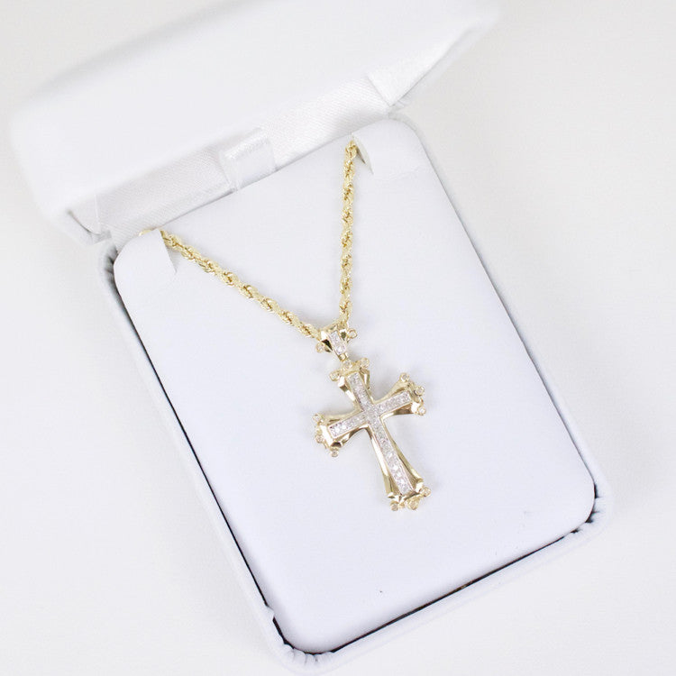 Gold & Diamond Small Cross Charm #6