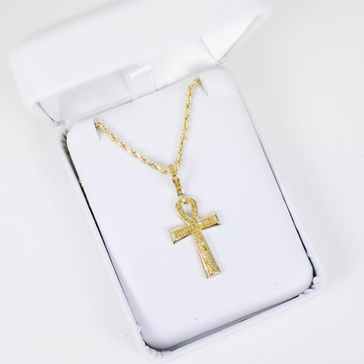 Gold & Diamond Small Cross Charm #7